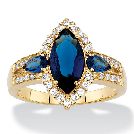 Marquise-Cut Simulated Blue Sapphire and Cubic Zirconia Halo Cocktail Ring 3.13 TCW 18k Yellow Gold-Plated at PalmBeach Jewelry