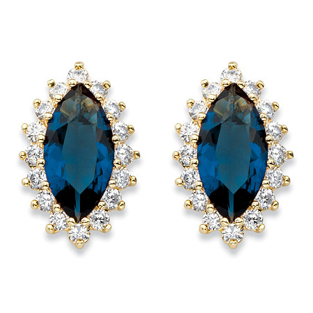 Marquise-Cut Simulated Blue Sapphire and Cubic Zirconia Halo Stud Earrings 5.20 TCW 18k Gold-Plated at PalmBeach Jewelry