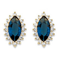 Marquise-Cut Simulated Blue Sapphire and Cubic Zirconia Halo Stud Earrings 5.20 TCW 18k Gold-Plated