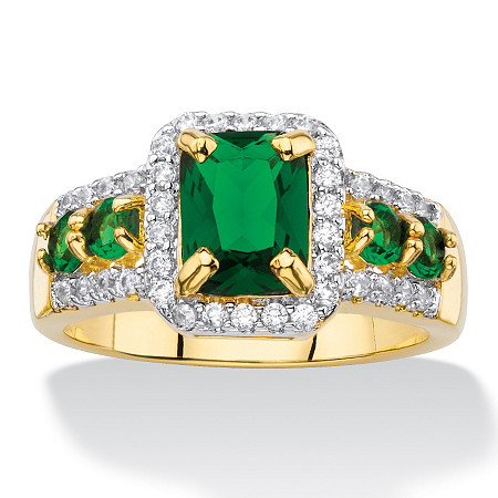Emerald-Cut Simulated Green Emerald and Cubic Zirconia Halo Cocktail Ring 2.62 TCW 18k Yellow Gold-Plated at PalmBeach Jewelry