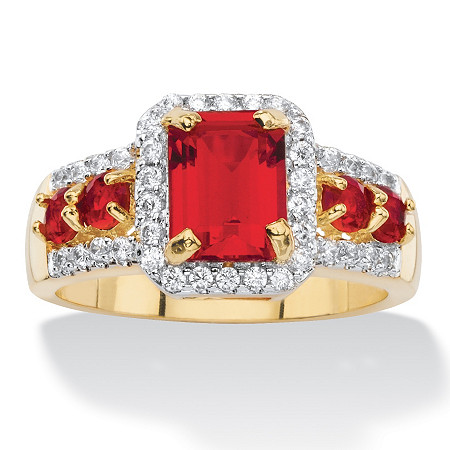 Emerald-Cut Simulated Red Ruby and Cubic Zirconia Halo Cocktail Ring 2.54 TCW 18k Gold-Plated at PalmBeach Jewelry