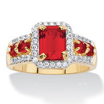 Emerald-Cut Simulated Red Ruby and Cubic Zirconia Halo Cocktail Ring 2.54 TCW 18k Gold-Plated