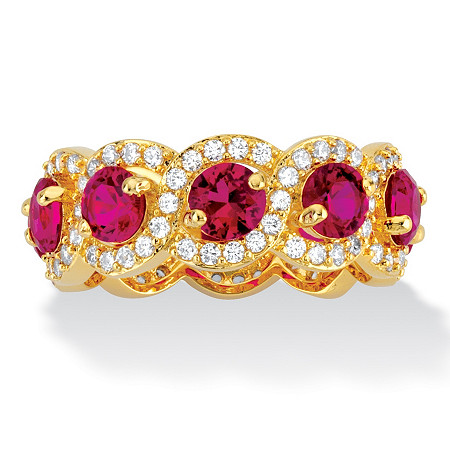 4.60 TCW Rose Rhodolite Cubic Zirconia 14k Yellow Gold-Plated Halo Crossover Eternity Ring at PalmBeach Jewelry