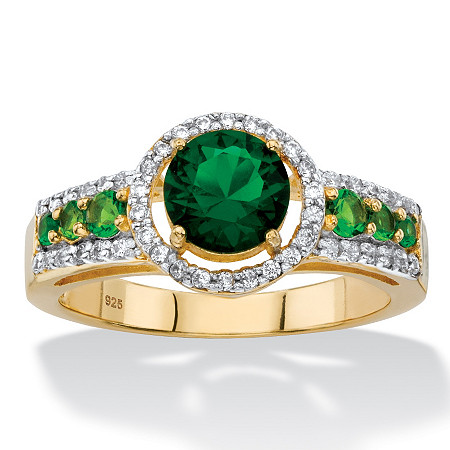 Round Simulated Emerald and Cubic Zirconia Halo Ring 1.82 TCW in 14k Yellow Gold over Sterling Silver at PalmBeach Jewelry