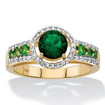 .23 TCW Round Simulated Emerald and Cubic Zirconia Halo Ring in 14k Yellow Gold over Sterling Silver