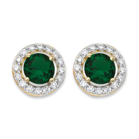 .24 TCW Round Simulated Emerald and Cubic Zirconia Halo Earrings in 14k Yellow Gold over Sterling Silver at PalmBeach Jewelry