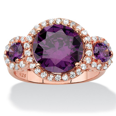 4.89 TCW Amethyst Purple Cubic Zirconia 3-Stone Halo Cocktail Ring in Rose Gold over Sterling Silver at PalmBeach Jewelry