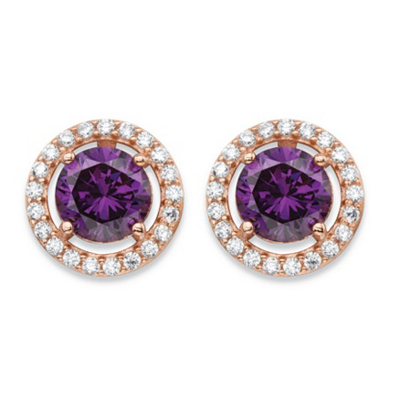 4.45 TCW Amethyst Purple Cubic Zirconia Halo Stud Earrings in Rose Gold over .925 Sterling Silver at PalmBeach Jewelry