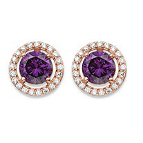 4.45 TCW Amethyst Purple Cubic Zirconia Halo Stud Earrings in Rose Gold over .925 Sterling Silver