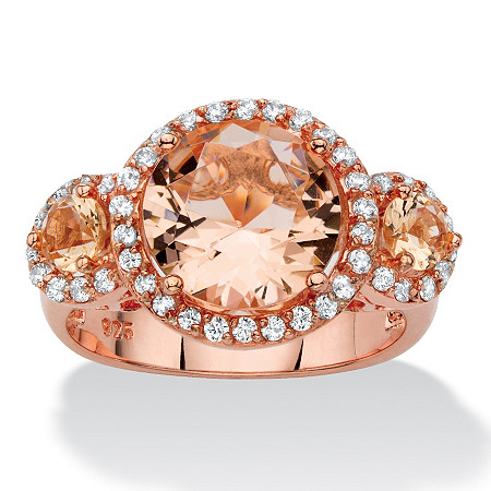 .40 TCW Peach Glass and Cubic Zirconia Rose Gold over .925 Sterling Silver 3-Stone Halo Ring at PalmBeach Jewelry
