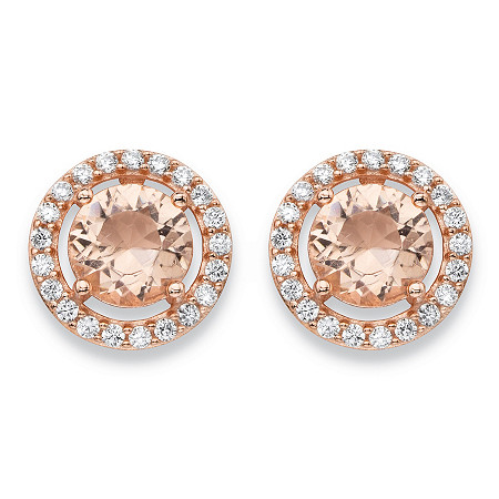 Round Peach Glass and Cubic Zirconia Halo Stud Earrings .45 TCW in Rose Gold over Sterling Silver at PalmBeach Jewelry