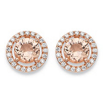 Round Peach Glass and Cubic Zirconia Halo Stud Earrings .45 TCW in Rose Gold over Sterling Silver