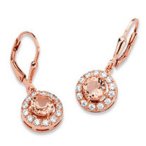 Round Peach Glass and Cubic Zirconia Halo Drop Earrings .65 TCW in Rose Gold over .925 Sterling Silver