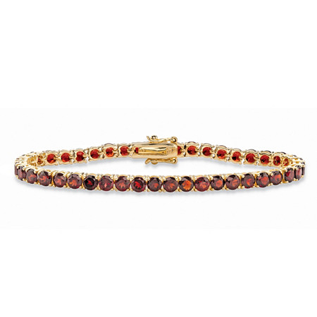12.90 TCW Round Genuine Red Garnet Tennis Bracelet 18k Yellow Gold-Plated 7.25