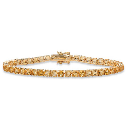 "8.60 TCW Round Genuine Yellow Citrine Tennis Bracelet 18k Yellow Gold-Plated 7.25"" at PalmBeach Jewelry"