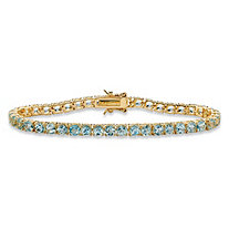 SETA JEWELRY 12.90 TCW Round Genuine Sky Blue Topaz Tennis Bracelet 18k Yellow Gold-Plated 7.25