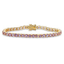SETA JEWELRY 8.60 TCW Round Genuine Purple Brazil Amethyst Tennis Bracelet 18k Yellow Gold-Plated 7.25