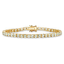 8.60 TCW Round Genuine Green Amethyst Tennis Bracelet 18k Yellow Gold-Plated 7.25""