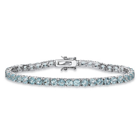 "12.90 TCW Round Genuine Sky Blue Topaz Tennis Bracelet Silvertone 7.25"" at PalmBeach Jewelry"