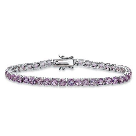 8.60 TCW Round Genuine Purple Brazil Amethyst Tennis Bracelet Silvertone 7.25