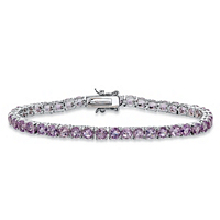 Round Genuine Purple Brazil Amethyst Tennis Bracelet ONLY $26.99