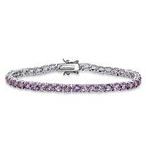 SETA JEWELRY 8.60 TCW Round Genuine Purple Brazil Amethyst Tennis Bracelet Silvertone 7.25