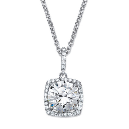 "4.30 TCW Round Cubic Zirconia Halo Pendant Necklace in Platinum over Sterling Silver 18""-20"" at PalmBeach Jewelry"