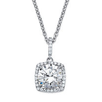 "4.30 TCW Round Cubic Zirconia Halo Pendant Necklace in Platinum over Sterling Silver 18""-20"""