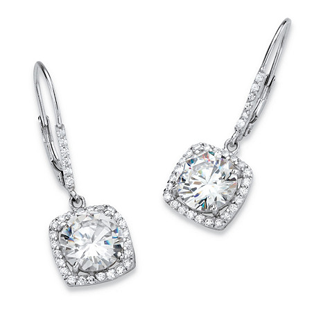 6.54 TCW Round Cubic Zirconia Halo Drop Earrings in Platinum over Sterling Silver at PalmBeach Jewelry