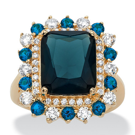 .80 TCW Emerald-Cut Blue Glass and Cubic Zirconia Halo Cocktail Ring 14k Yellow Gold-Plated at PalmBeach Jewelry