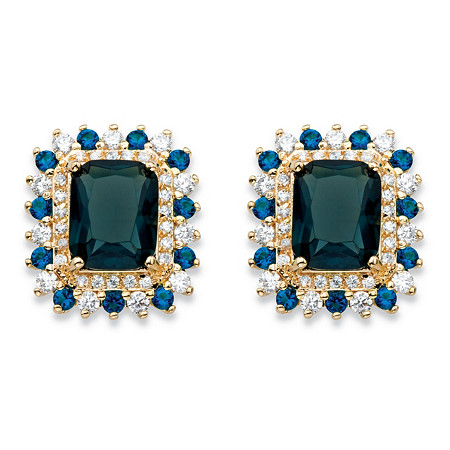 1 TCW Emerald-Cut Simulated London Blue Sapphire and Cubic Zirconia Halo Stud Earrings 14k Yellow Gold-Plated at PalmBeach Jewelry