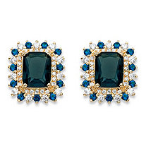 1 TCW Emerald-Cut Blue Glass and Cubic Zirconia Halo Stud Earrings 14k Yellow Gold-Plated