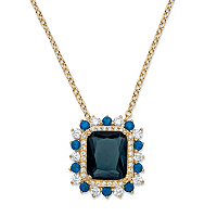 Emerald-Cut Blue Glass And Cubic Zirconia Halo Pendant Necklace ONLY $9.99