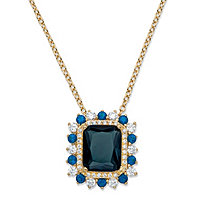 ".80 TCW Emerald-Cut Blue Glass and Cubic Zirconia Halo Pendant Necklace 14k Gold-Plated 18""-20"""