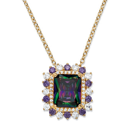 8.40 TCW Emerald-Cut Mystic Cubic Zirconia Halo Pendant Necklace 14k Yellow Gold-Plated 18