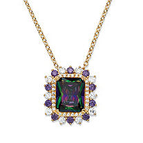 "8.40 TCW Emerald-Cut Mystic Cubic Zirconia Halo Pendant Necklace 14k Yellow Gold-Plated 18""-20"""