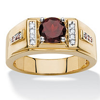 SETA JEWELRY Men's 1.73 TCW Round Genuine Red Garnet and Diamond Accent Classic Ring 14k Yellow Gold-Plated