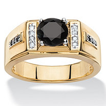 Men's Black Spinel and Diamond Accent Classic Ring 14k Yellow Gold-Plated