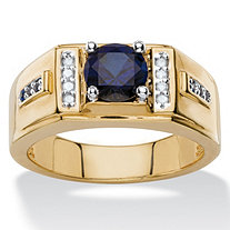 SETA JEWELRY Men's 1.86 TCW Round Created Midnight Blue Sapphire and Diamond Accent Classic Ring 14k Yellow Gold-Plated