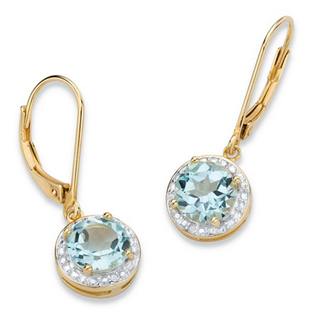 3.10 TCW Genuine Sky Blue Topaz and Diamond Accent Pave-Style Halo Drop Earrings in 14k Gold over Sterling Silver at PalmBeach Jewelry