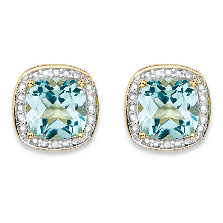 3.38 TCW Genuine Sky Blue Topaz and Diamond Accent Pave-Style Halo Stud Earrings in 14k Gold over Sterling Silver at PalmBeach Jewelry