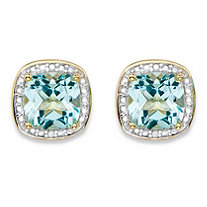 3.38 TCW Genuine Sky Blue Topaz and Diamond Accent Pave-Style Halo Stud Earrings in 14k Gold over Sterling Silver
