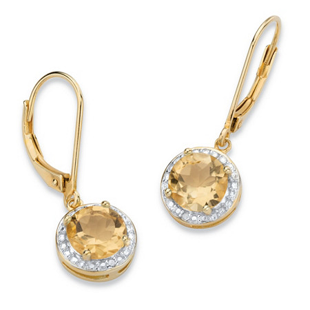 2.60 TCW Genuine Yellow Citrine and Diamond Accent Pave-Style Halo Drop Earrings in 14k Gold over Sterling Silver at PalmBeach Jewelry
