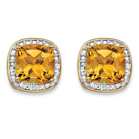 2.58 TCW Genuine Yellow Citrine and Diamond Accent Pave-Style Halo Stud Earrings in 14k Gold over Sterling Silver at PalmBeach Jewelry