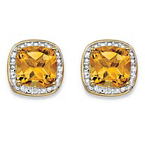 2.58 TCW Genuine Yellow Citrine and Diamond Accent Pave-Style Halo Stud Earrings in 14k Gold over Sterling Silver
