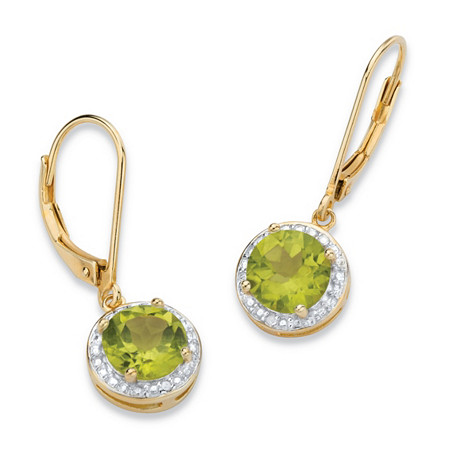 2.50 TCW Genuine Green Peridot and Diamond Accent Pave-Style Halo Drop Earrings in 14k Gold over Sterling Silver at PalmBeach Jewelry
