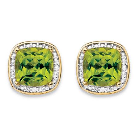 2.80 TCW Genuine Yellow Peridot and Diamond Accent Pave-Style Halo Stud Earrings in 14k Gold over Sterling Silver at PalmBeach Jewelry