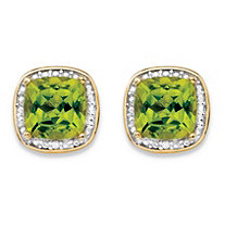 SETA JEWELRY 2.80 TCW Genuine Yellow Peridot and Diamond Accent Pave-Style Halo Stud Earrings in 14k Gold over Sterling Silver
