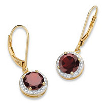 SETA JEWELRY 3.20 TCW Genuine Red Garnet and Diamond Accent Pave-Style Halo Drop Earrings in 14k Gold over Sterling Silver