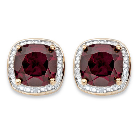3.20 TCW Genuine Red Garnet and Diamond Accent Pave-Style Halo Stud Earrings in 14k Gold over Sterling Silver at PalmBeach Jewelry